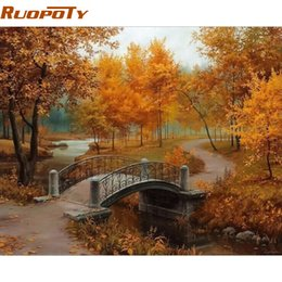 oil paint number framed UK - heap & Calligraphy RUOPOTY Frame Autumn Landscape DIY Painting By Numbers Wall Art Decor Handpainted Oil Painting For Home Decor Artwork...