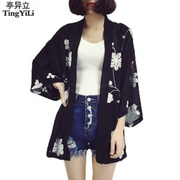 $enCountryForm.capitalKeyWord NZ - Tingyili Embroidery Floral Kimono Cardigan Women Summer Beach Chiffon Cardigan White Blue Pink Black Cardigan Female Y19050501