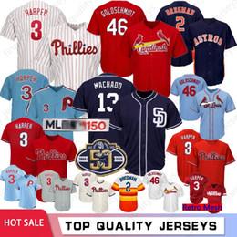 30350e973 3 Bryce Harper 150th Baseball Jerseys Philadelphia 46 Paul Goldschmidt  Phillies Jersey Mens 2 Alex Bregman Houston 13 Machado Astros Padres