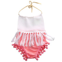 jumpsuit babies Australia - Babies Girl Strap Backless Tassels Jumpsuit Bodysuit Newborn Infant Baby Girls Halter Tassel Patchwork Bodysuits Outfit Clothes