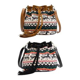 Discount purse tassel strings - Ethnic Women Drawstring Handbags fashion ladies Shoulder hand Bags And purse Female Floral Print Tassel Crossbody Bag
