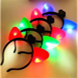 Glow Dark Hair Australia - Cat Ears Headband Plastic LED Light Up Head Hoop Glowing In The Dark Halloween Decoration Hair Band Cute bb382-389 2018011603
