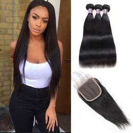 $enCountryForm.capitalKeyWord Australia - Malaysia Human Hair Bundles With Closure Brazilian Hair Body Wave 3PCS With 4x4 Lace Closure 100% Unprocessed Virgin Human Hair Extensions