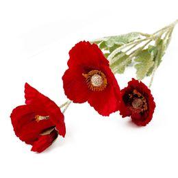 $enCountryForm.capitalKeyWord UK - Cevent 1pcs Artificial Poppy Silk Flowers Home Party Decoration Fake Poppy Flowers For Garden Decor Artificielles Flower Wreath
