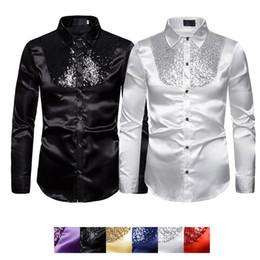Silk tuxedoS online shopping - Formal Men Party Tuxedo Shirts Slim Ball Wedding Silk Like Satin Long Sleeve Dress Shirts Men Autumn Clothing Tops Sequins