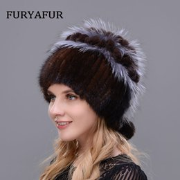 4151bffdb048e JERYAFUR Russian Real Natural Mink Hat Warm Double Female Mixed Color Fox  Fur Hat Women Silver Double Velvet Luxury Winter