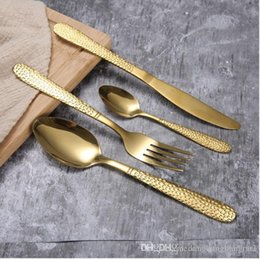 Matte tea online shopping - DLM2 High grade Gold Cutlery spoon fork knife tea spoon Matte Gold Stainless Steel Food Silverware Dinnerware Utensil h125D