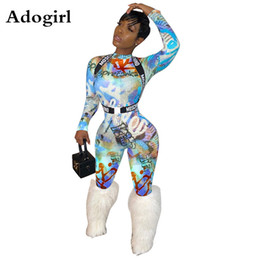 xxl women s jumpsuits NZ - Newspaper Print Turtleneck Jumpsuit Women Long Sleeve Bandage Romper Elastic High Waist Night Club Overalls Streetwear S-XXL V200325