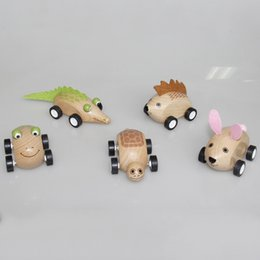 Frog cars online shopping - Baby Simulated Animal Model Wooden DIY Car Toys Child Intelligence Toy Crocodile Frog Rabbit Tortoise Hedgehog Styles ld E1