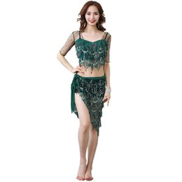$enCountryForm.capitalKeyWord Australia - New Fashion Women Belly Dance Clothes Stretchy Mesh Sparkling Sequins Over-Skirt Fringes Hip Scarf Costume Set 2pcs Top & Belt