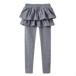 Baby Cotton Winter Tights Pants UK - 13 Color Girls Fake two pieces Skirt Pants Autumn Spring Baby Candy colors Leggings Tights kids Clothes Children Trousers