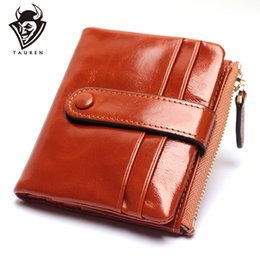 Discount card wax - Women Genuine Leather Wallet Mini Card Holder Ladies Oil Wax Hasp Short Wallets Purse Coin Bags