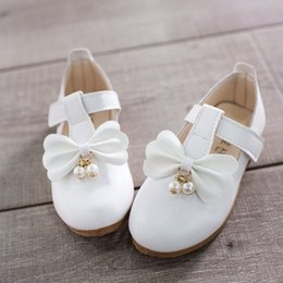 wedding dress for years kids Australia - Kid Girl Bow Bead Leather Shoes Princess Wedding Shose For Little Girl Dress Big Children Shoes 3 4 5 6 7 8 9 10 11 12 Year Old