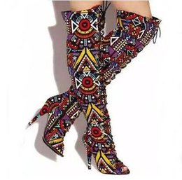 $enCountryForm.capitalKeyWord Australia - Sexy Mixed Color Printed Leather Lace-up Tight High Boots Open Toe Bandage Over The Knee Boots Women Rome Style Dress Shoes