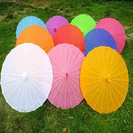 Japanese Umbrella Wholesale Australia - Chinese Colored Fabric Umbrella White Pink Parasols China Traditional Dance Color Parasol Japanese Silk Props 100pcs