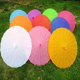Vente en gros Tissu De Couleur Chinoise Parapluie Blanc Rose Parasols Chine Danse Traditionnelle Couleur Parasol Soie Japonaise Accessoires 100pcs