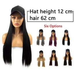 Gold straiGht hair online shopping - 6 colors Adjustable Women Hats straight Hair Extensions With Black Cap Wig All in one Female Baseball Cap hat