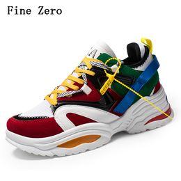 Fine Zero Vintage папа Мужская обувь 2018 kanye мода Запад сетка свет дышащий мужчины повседневная обувь кроссовки zapatos hombre на Распродаже