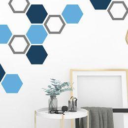 Shape Arts Australia - 39pcs Hollow Hexagon Geometric Shape Wall Sticker For Kids Rooms 6.5*7.5cm Home Decor Bedroom TV Sofa Wall Vinyl Art Wall Decals
