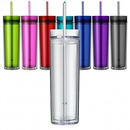 Drink cup straw online shopping - 16oz Skinny Acrylic Tumbler with Lid and Straw ml Double Wall Clear Plastic Cup BPA Free oz straight water bottle Acrylic travel mug