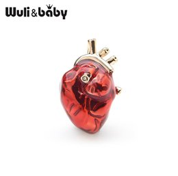 Wholesale Wuli baby Red Enamel Heart Brooches For Women And Men Hospital Clinic Professional Uniform Brooch Pins Team Gifts