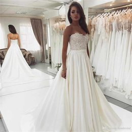 $enCountryForm.capitalKeyWord Australia - 2020 Cheap Strapless Sleeveless A-line Wedding Dresses Bead Appliques Lace up tie Wedding Dress Bridal Gowns Cheap vestidos de noiva
