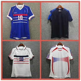 Discount france jersey soccer football - 1998 FRANCE retro soccer jersey ZIDANE HENRY 2006 Football Jerseys shirt white away finals 2018 world cup POGBA MBAPPE G