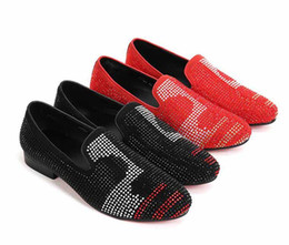 $enCountryForm.capitalKeyWord Australia - 2019 Genuine Leather Casual Men Shoes Red Suede Loafers Crystal Slipper Dress Shoes Men Rhinestone Pointed Toe Party Flats Sapatos size38-46