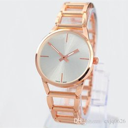 Chinese  2019 A piece lots Top Metal Luxury women watch rose gold special steel Lady Wristwatch free box student clock fashion design Free shipping manufacturers