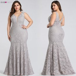 $enCountryForm.capitalKeyWord Australia - Plus Size Prom Dresses 2019 Ever Pretty Ep08838 Elegant Mermaid Lace Sleeveless V-neck Long Party Gowns Sexy Wedding Guest Gowns J190613