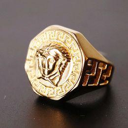 Hollow Fingers Australia - Size 7-15 Stainless Steel Medusa Ring Hot Sale Hip Hop Titanium Steel Finger Ring Golden Hollow Out Fashion Ring Men