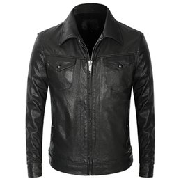 real motorcycle jackets Australia - Vintage Goatskin Genuine Leather Motorcycle Jacket Men Black Slim Short Real Leather Coat High Quality Business Casual Clothes