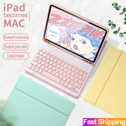 Wholesale Candy Bluetooth Keyboard For iPad 10.2 pro 10.5 9.7 air Leather case TPU Back Cover girls kid's Wireless keyboards PU