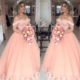 lace bottom dress black Canada - Peach Classy Long Puffy Prom Dresses Off The Shoulder Top Lace Bottom Appliques women pageant evening gowns Modest Cheap Engagement Dresses