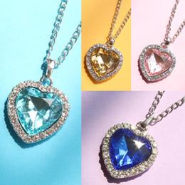 titanic pendant chain 2019 - Classic Zircon Titanic Ocean Heart Dark Blue Crystal Heart Necklaces & Pendants Statement Chain Necklace Woman Anime col