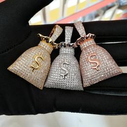 Necklace Bag Pendant Australia - Hip hop Jewelry Brass Material Men Women ICED OUT CZ Money bag dollor $ Pendant Necklace CN045