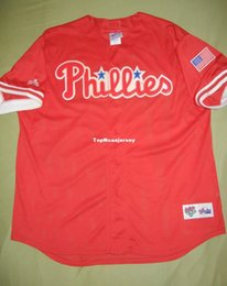 98a1d477720 Cheap Retro PHILADELPHIA blank Majestic Batting Practice BP Jersey Red MINT Mens  Stitched Baseball jerseys