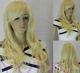 fast cosplay shipping Australia - LL New!fashion long blond curly cosplay girl hair wig wigs best gift sythetic fast Shipping