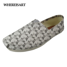 Cat Print Flats Australia - WHEREISART Cute Animal Cartoon Cat Prints Flats Ladies Shoes Casual Canvas Women Shoes Woman Lazy Loafers for Lady Skateboard