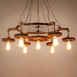 Lighting For Clothing Stores Australia - American industrial wind Gear chandelier iron E27 Lamps 7 Heads retro For Bar Clothing store Home lighting Suspension G102