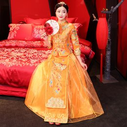 ToasT cloThes online shopping - Phoenix Embroidery Asian Bridal Dress Traditional Chinese Women Wedding Qipao Toast Clothes Elegant Ankle Length Cheongsam