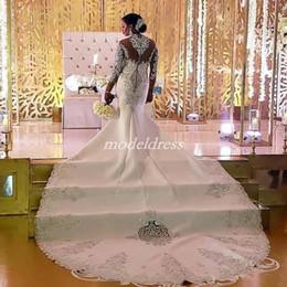 Vintage High Neck Mermaid Wedding Dresses See Through Long Sleeve Court  Train Appliques Beads Arabic Bridal Gowns vestido de novia Plus Size ebd8e9e1e85d