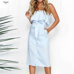 Casual white ruffled dress beaCh online shopping - Women Summer Dress Strapless Sundress Sexy Off Shoulder Bandage Backless Ruffles Sleeveless Vestidos Female Button Beach Dress