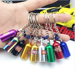 lucite girls rings Australia - Car Keychain Pendant Jewelry For Women Men Mini Keyring Random Color NOS Turbo Nitrogen Bottle Metal Key Chain Key Ring Holder