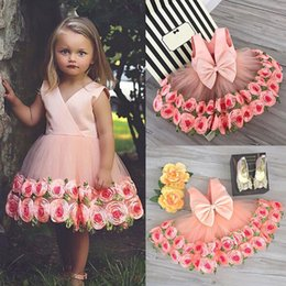 Wholesalers Selling Bows Australia - Hot Selling Kids girl clothes Party Wedding Princess Dress V-neck Bow Rose Textural Florals 2-8Y Girls clothes 2019 Summer