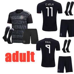 5265affc662ff 2019 Mexique thaï qualité maillots de football ensembles complets noir 19  20 Camisetas Mejico Homme Adulte CHICHARITO LOZANO CARLOS Kits de Football  + ...