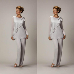 Hand Made Suits Australia - Hot Sales 2019 Silver Mother of The Groom Dress Jewlel Neck Long Sleeve Hand-made Flower Mother of The Bride Pant Suits