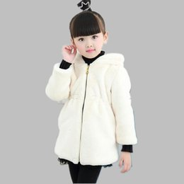 b943eb053bb5 2019 Autumn Winter Children Faux Fur Coat Girls Kids Cotton Thickening  Jacket Cute Cartoon Animal Ear Hooded Clothes N96