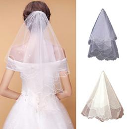 38c0638131 Vestido de novia de perlas Capas de velo Tulle Ribbon Edge Velos de novia  Accesorios para mujeres
