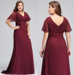 Wholesale Vestido De Festa butterfly sleeve Chiffon Burgundy Mother Of the Bride Dresses plus size Ruched Long Formal Evening Gowns CPS715